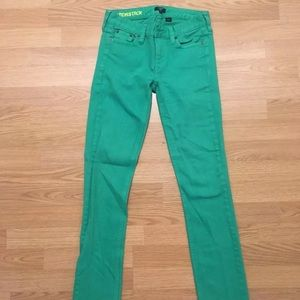 J Crew Matchstick Size 25 Skinny Green Pants
